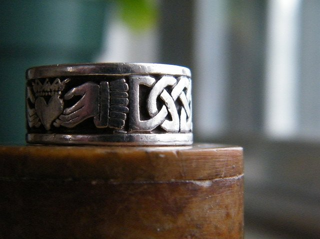 Close up view of heart and hands on a Claddagh wedding band