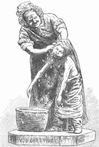 Vintage Clip Art - Mom Washing Boy