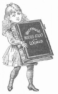Vintage Clipart: Education - Girl with Atlas