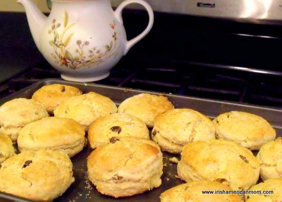 Irish Raisin Tea Scones on a baking tray just out of the oven