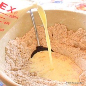 Combining dry and wet ingredients for Irish brown bread recipe