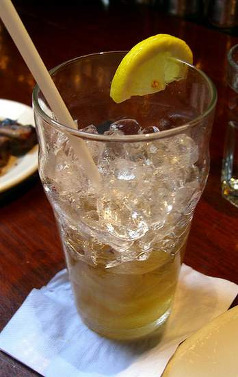 An empty glass with ice