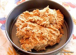Dough for Irish brown bread is moist before cooking