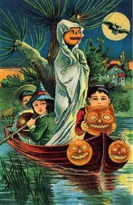 Victorian children on a boat with pumkins and a pumpkin ghost