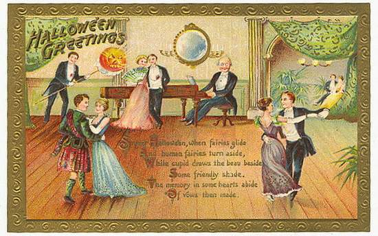 Vintage card showing a Victorian Halloween ball