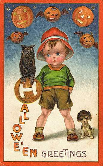 Halloween greetings showing a little boy with pumpkins and a puppy