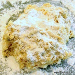 Flour dusted scone dough for Irish Raisin Tea Scones