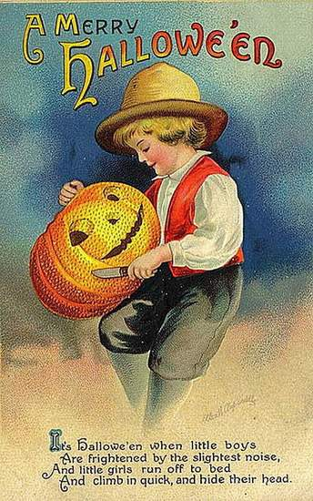 Victorian greeting card showing a boy carving a jack o lantern