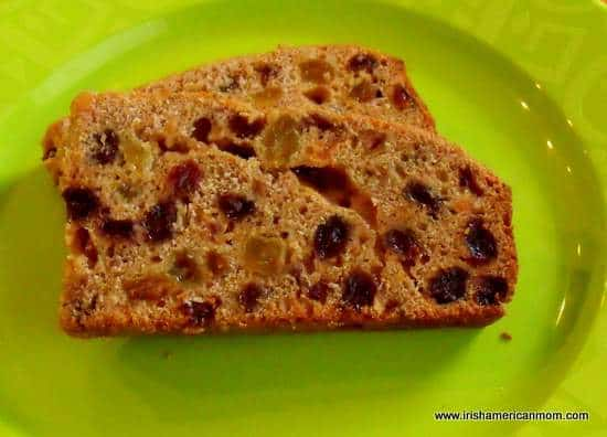 Slices of Irish tea brack on a green plate