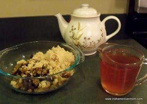 Brown sugar, raisins, golden raisins and hot tea