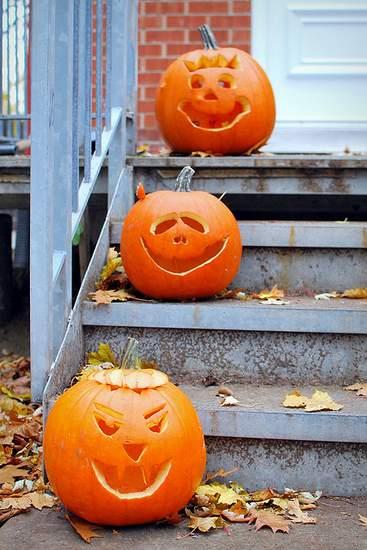 Carved pumpkins on steps