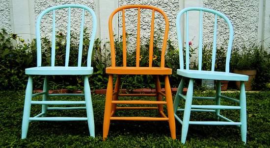 Three Vintage Wooden Kitchen Chairs