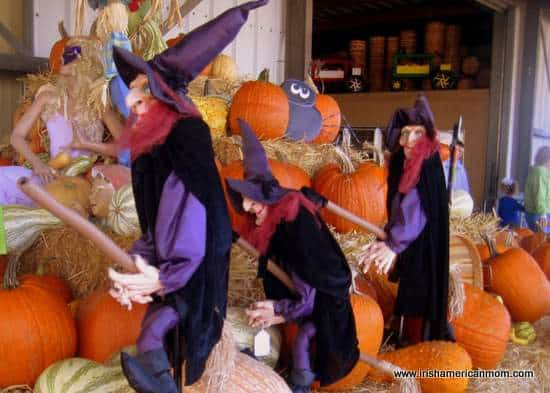 Three witches on brooms - Halloween decoration