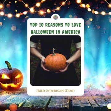 Halloween scene with a woman holding a pumpkin and text overlay