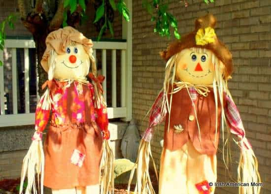 Two harvest scarecrows