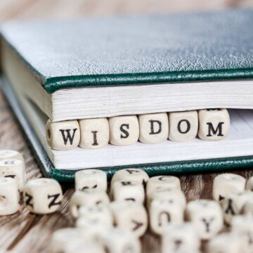 A green book with the word wisdom spelled out with alphabet blocks between the binding