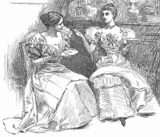 Victorian ladies having tea