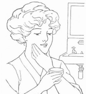 Moisturizer application in vintage black and white clip art