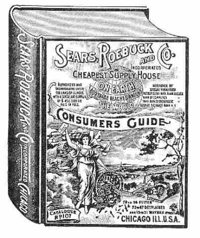 Black and white sketch of vintage Sears Roebuck Consumers Guite