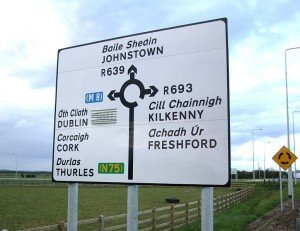 A road sign for a roundabout in Ireland