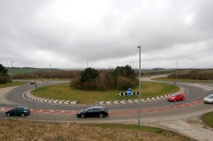 Roundabout in Cornwall with cars circling