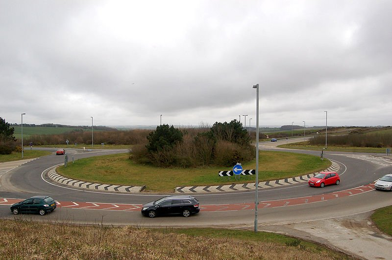Roundabout with cars circling