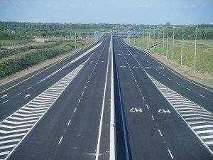 A motorway with multiple lanes