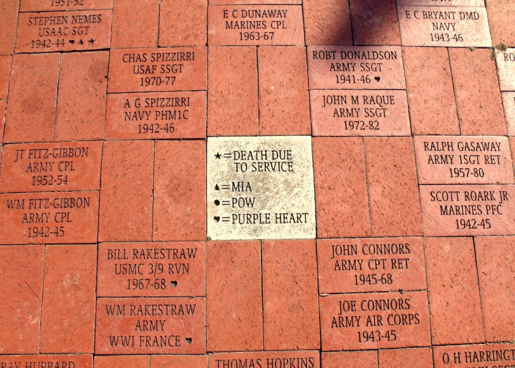Bricks on a path with text inscriptions