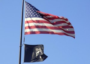US Flag with POW MIA Flag