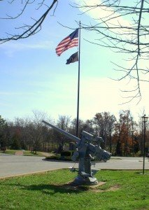 Weapons on display by the American Flag Vetern's Memorial Park