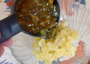 Mixed diced candied pineapple with marmalade