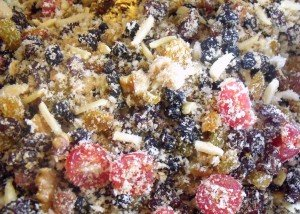 Dry ingredients mixed in a bowl for plum pudding