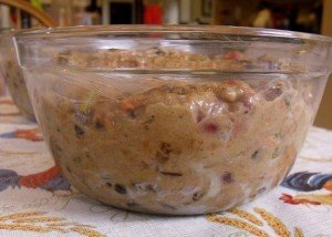 Christmas pudding mix in bowl