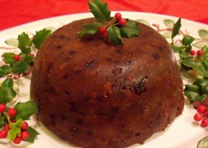 Irish Christmas Pudding on a platter