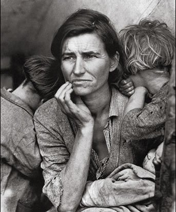 Famous image of the Great Depression in black and white