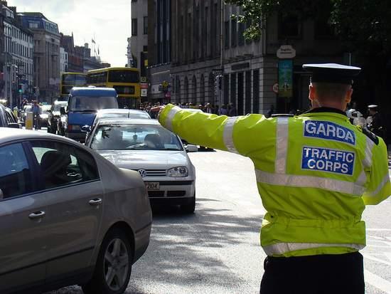 Irish garda directing traffic