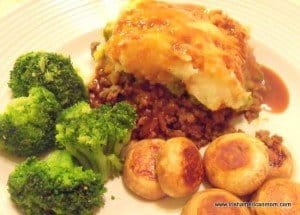 Shepherd's Pie with Guinness with broccoli and mushrooms