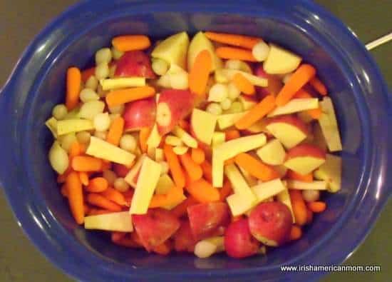 Stew vegetables in crock pot
