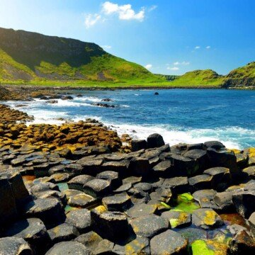 Hexagonal basalt columns on the coastline