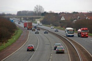 Motorway with bus, cars and trucks in Northern Ireland