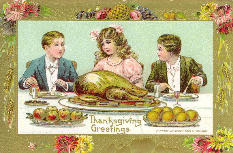 Two boys and a girl share Thanksgiving dinner on a vintage greeting card