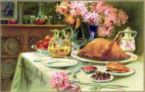 Vintage image of a turkey on a table for Thanksgiving
