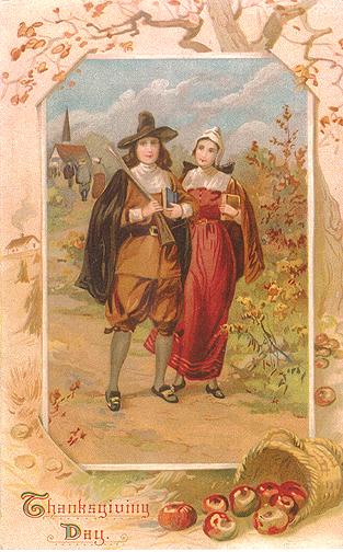 Vintage greeting card of pilgrims