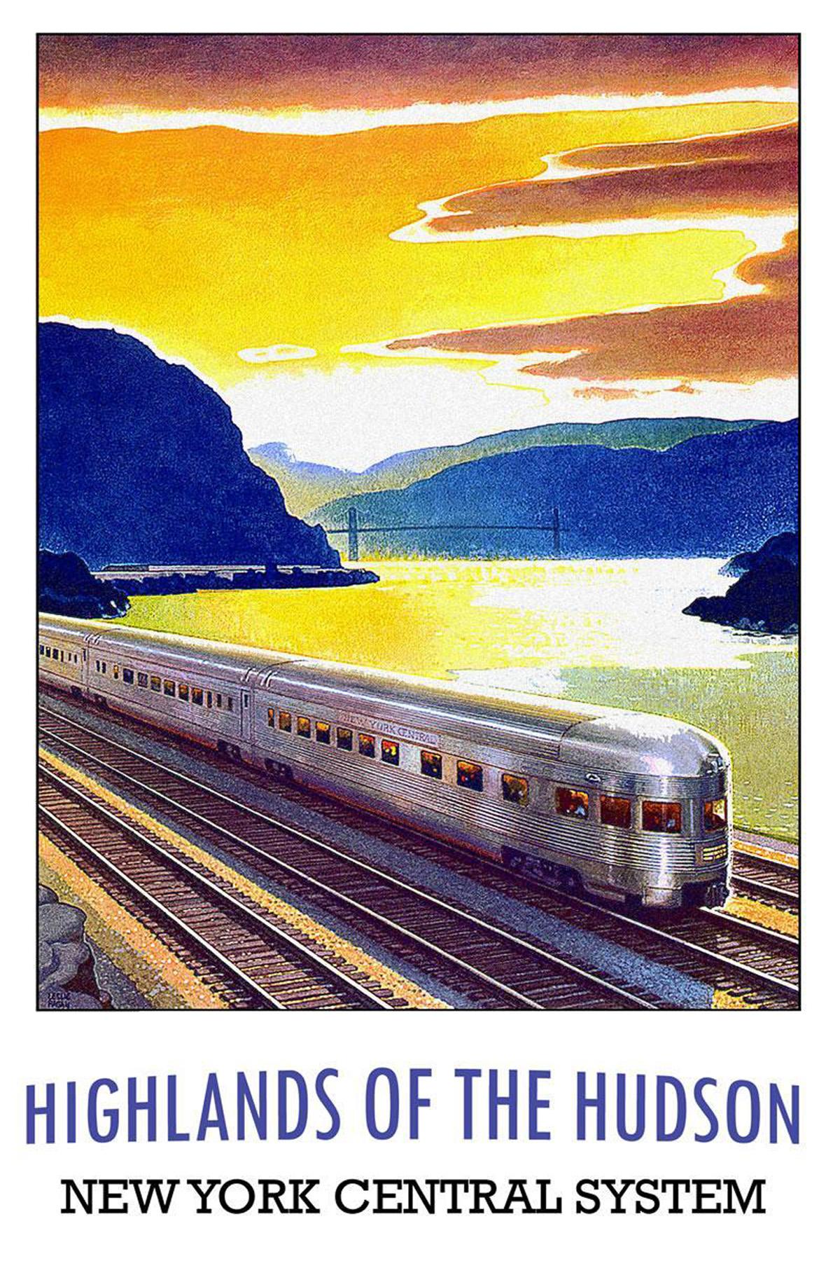 Vintage new york train travel poster irish american mom for Vintage train posters