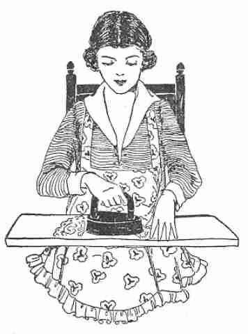 Vintage sketch of a woman ironing