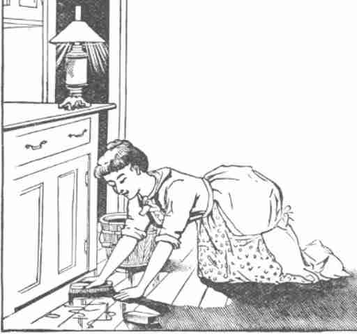 vintage sketch of a woman scrubbing the floor with a bucket of water close by