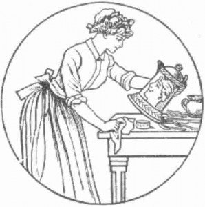vintage sketch of a woman doing housework