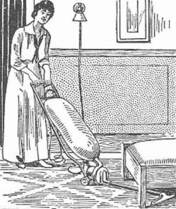 Vintage sketch of a woman with a vacuum