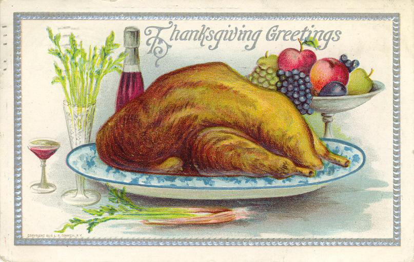 A cooked turkey on a platter on a vintage postcard