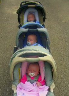 Triple decker stroller - front view
